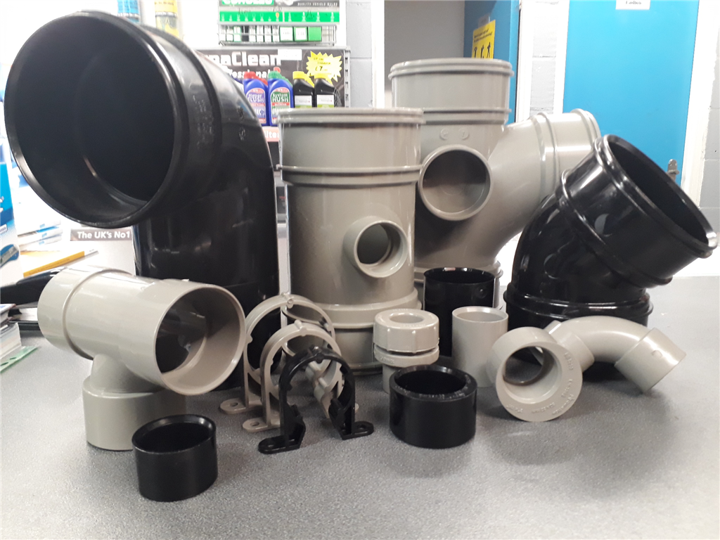 Waste pipe & fittings range from 32mm to 110mm also in underground (Brown - 110mm only). We stock these items in Grey, Black & White. These are also availible in PolyPipe brand.  Gallery Image
